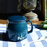 Mug Kaffeetassen380 Ml Blaue Keramik Mit Deckel Lffel Wiederverwendbare Tasse Fr Tee, Kaffee Oder...