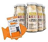 LICKIMAT für Katzen mit 6er Pack SmoothieCat Huhn&Herz je 150ml Katzensmoothie Flüssignahrung für...
