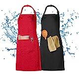 XCOZU 2 Stück Schürze, Wasserdicht Schürzen Kochschürze Männer Damen Schwarz Rot...
