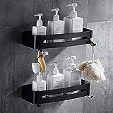 Liesun 2 Stück Duschregal Ohne Bohren mit 2 Haken, Duschregal Badezimmer Regal für Bad, Space...