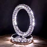 WSHFOR Minimalistische Mode Edelstahl Kristall LED Tischlampe Schlafzimmer Nachttischlampe...