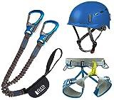 LACD Klettersteigset Pro Evo + Klettergurt Edelrid Jay III + Helm Protector 2.0 Blue (Gurt Größe...