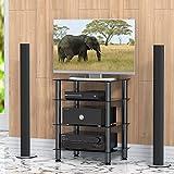 FITUEYES TV Rack HiFi Regal Audio Schrank Glas und Alu 600x455x762mm AS406001GB