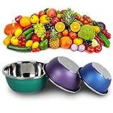 ROSEBEAR Edelstahlschüssel Rührschüssel Küchenwerkzeug geeignet zum Waschen von Reis, Gemüse, 3...