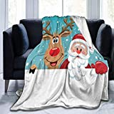 Decke Santa Cartoon Red Nosed Rentier Weihnachten Non Shedding Plüsch werfen Reversible Sherpa...