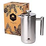 Groenenberg French Press aus Edelstahl | 1 Liter (5 Tassen) Kaffeebereiter doppelwandig isoliert |...