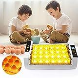 TOPQSC Vollautomatischer Inkubator 24 Digital Clear Egg Inkubator, Auto Flip Eierbrutkasten mit LED...