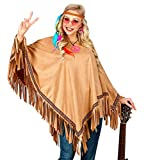 shoperama Hellbrauner Unisex Fransen-Poncho in Wildleder-Optik für Hippie Indianerin Goucho