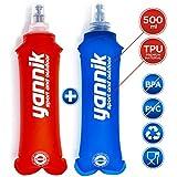 YANNIK Soft-Flask 2er-Pack Flexible Faltbare Trinkflaschen 500ml Blau + Rot - Wasserflasche...