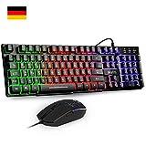 Mafiti RK101 Gaming Tastatur und Maus Set, Office Tastaur, LED Hintergrundbeleuchtung QWERTZ...