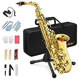 Eastar Alt Saxophon Student Lackiertes Goldenes E Flache AS-Ⅱ mit Reinigungsbürste Korkfett...