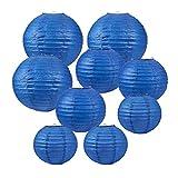 BENECREAT 21 PACK 3 Größe Blaue Runde Papierlaternen mit Metallrahmen, Papier Lampenschirm hängen...