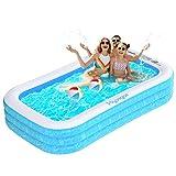 Hyvigor Aufblasbarer Pool, 242 * 142 * 56cm Planschbecken, Rechteckiger Familienpool mit 2 Bälle,...