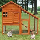 zooprinz Hasenstall - Kaninchenstall Landhaus massiven Holz ideal für draußen - Besonders einfach...
