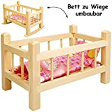 alles-meine.de GmbH 2 in 1: Puppenbett & Puppenwiege - aus Holz - UMBAUBAR - mit Bettzeug -...