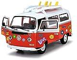 Dickie Toys Surfer Van, VW Bus mit Surfbrettern, Bully, Spielzeug Van, Türen zum Öffnen, Sticker...