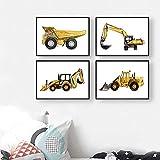 SHINERING Leinwandposter mit Baustellenfahrzeug für Jungen, gelb, Kipplaster, Bagger, Kinderzimmer,...