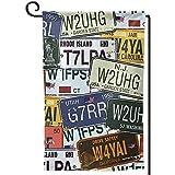 jiaxingdalin Garten Yard Flagge USA Retro Auto Nummernschilder Vintage Willkommen Garten Flagge Zoll...