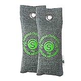 Bambus Aktivkohle Schuh-Geruchsentferner 2 x 75g | Schuhtrockner Anti Feuchtigkeit | Deo für Schuhe...