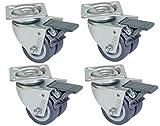 HRB Rollen mit Bremse 50 mm (4er Set Lenkrollen mit Bremse) rasengeeignete Strandkorbrollen mit...