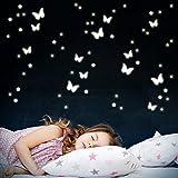 Wandkings Schmetterlinge und Sterne, 78 Sticker, extra starke Leuchtkraft, Wandsticker...