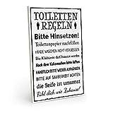 Holzschild mit Spruch - TOILETTENREGELN - Vintage Shabby Deko-Wandbild/Türschild 19 x 28 cm Mit...
