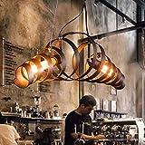 HELIN Retro Hängelampe Vintage Kronleuchter Spirallampe Hängelampe Hängelampe Leuchte Eisen Lampe...