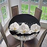 Fansu Runde Tischdecke Wasserabweisende, 3D Blume Drucken Abwaschbar Gartentischdecke rutschfest...