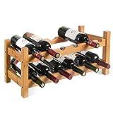 HOMFA Bambus Weinregal Flaschenregal für 12 Flaschen Weinhalter Weinständer Flaschenständer...