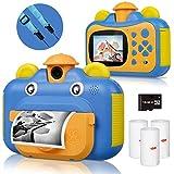 Kinderkamera, Print Kamera für Kinder, 1080P HD Videokamera mit 2,4 Zoll Screen, Sofortbildkamera...