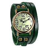 JewelryWe Herren Damen Armbanduhr, Grün Leder Armband Wickelarmband, Casual Retro, Analog Quarz...