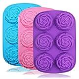 Senhai große Rosen-/Blumen-Silikonform für Kuchen, Brot, Pudding, Schokolade, Muffins, Seife, 6...