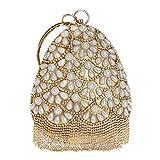 Maxiaoyun Abendessen Tasche Frauen Perle Quaste Clutch Bag Damen Strass Elegante Abendtasche...
