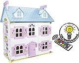 Alpine Villa Schne Puppenhaus aus Holz mit Mbeln und Familie Puppen Familienhaus LED-Beleuchtung mit...