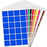 2,5cm Quadrat Aufkleber Farbkodierung Etiketten Markierungspunkte - 10 Farben, 1200 Stück
