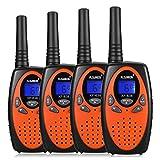 FLOUREON 4X PMR Funkgerät Walkie Talkies 8 Kanäle Walki Talki 2-Wege Radio mit LC-Display Orange