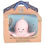 Naturkautschuk Rassel in Geschenkbox, Oktopus, Badespielzeug, für Babys und Kinder ab 0+ Monaten