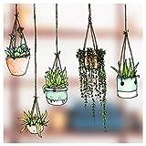 Fünfer-Set Fenster-Sticker/-Aufkleber mit gezeichneten Hängepflanzen-Motiven –...