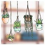 Fnfer-Set Fenster-Sticker/-Aufkleber mit gezeichneten Hngepflanzen-Motiven  Hngetopf-Glasaufkleber...