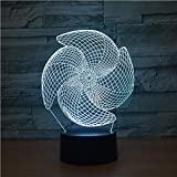 Hyllbb Windrad 3d led lampe 7 farbe touch charge led visuelle geschenk led nachtlicht luminaria...