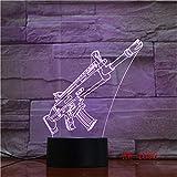 HXFGL 3D Nachtlampe 7 Farbwechsel Schusswaffen Form LED Touch Tischlampe Schlaflicht USB Wohnzimmer...