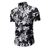 Sankt Herren Hawaii-Hemd, kurzärmelig, Ananas-Print, Sommer Gr. M, Schwarz