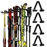Odoland Skihalter Wandhalterung Rack mit 4 Skibandträger 2 Paar Snowboard Rack Wandhalterung Hause...