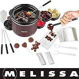 Melissa 16310178 Schokoladen-Fondue-Set, Schokoschmelzer, viel Zubehör, 4 Personen,Keramiktopf,70...