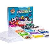Bastelbär Bügelperlen Set mit XXL Steckplatte und Zubehör - 14 Farben - Neon-Perlen - Steckperlen...