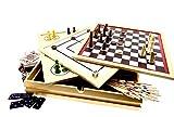 RB&G Holz-Spielesammlung Familienspiele Brettspiel Spielsammlung mit verschiedenen...