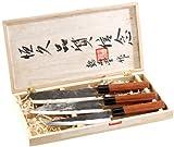 PEARL Messer: 3-teiliges Messerset, handgefertigt, mit Echtholzgriff (Chinesische Messer)