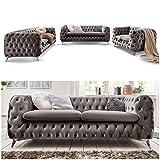 Moebella Chesterfield Sofagarnitur 3-2-1 Emma Samtstoff Knöpfung Modern Designer Couch...