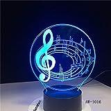 BFMBCHDJ Romantische Musiknote 7 Farbwechsel Tischlampe 3D LED Nachtlicht Bedroon Decor Neuheit...