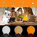 Moband LED Bluetooth Lautsprecher 3D Mond Holz Tischlampe USB Dimmbar Hängen Design Business...
